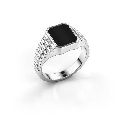 Foto van Rolex stijl ring Brent 1 585 witgoud onyx 10x8 mm