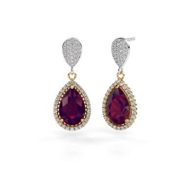 Drop earrings Cheree 2 585 gold rhodolite 12x8 mm
