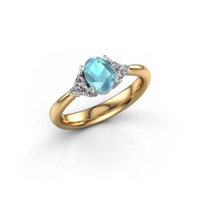 Foto van Verlovingsring Aleida OVL 1 585 goud blauw topaas 7x5 mm