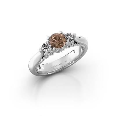 Foto van Verlovingsring Tiffani 950 platina bruine diamant 0.74 crt