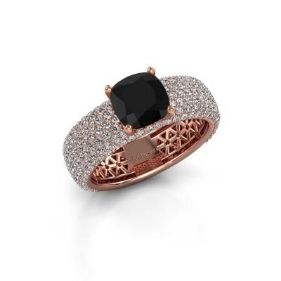 Verlovings ring Darcy 375 rosé goud zwarte diamant 3.77 crt