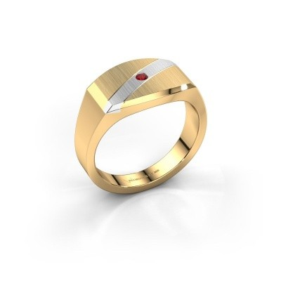 Foto van Heren ring Joe 3 585 goud robijn 2 mm