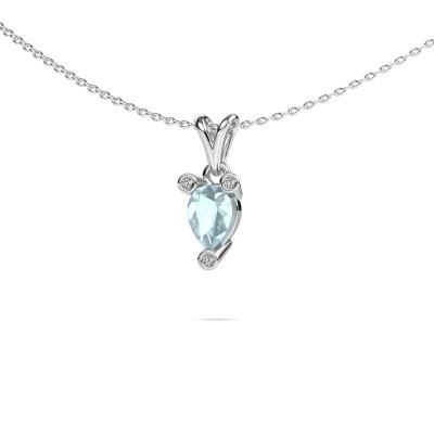 Picture of Necklace Cornelia Pear 950 platinum aquamarine 7x5 mm