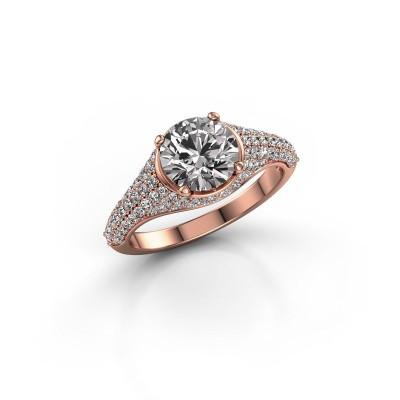 Foto van Ring Lovella 375 rosé goud diamant 1.929 crt