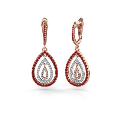 Picture of Drop earrings Marietta 2 585 rose gold ruby 0.9 mm