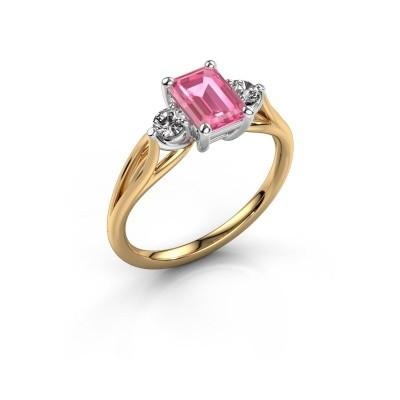 Verlovingsring Amie EME 585 goud roze saffier 7x5 mm