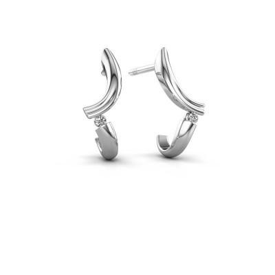 Earrings Tish 950 platinum zirconia 1.5 mm