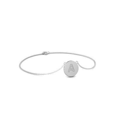 Bracelet Initial 050 375 or blanc zircone 1 mm