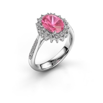 Foto van Verlovingsring Margien 2 585 witgoud roze saffier 7x5 mm