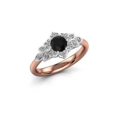 Foto van Verlovingsring Tatjana 585 rosé goud zwarte diamant 0.735 crt