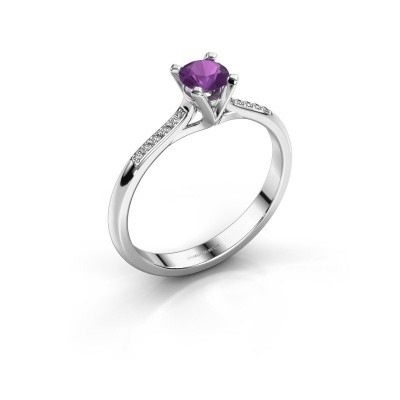 Picture of Engagement ring Isa 2 925 silver amethyst 4.2 mm