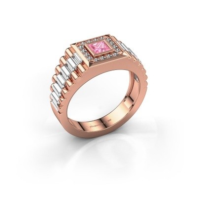 Heren ring Zilan 585 rosé goud roze saffier 4 mm