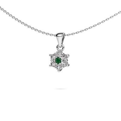Foto van Ketting Chantal 585 witgoud smaragd 2.4 mm