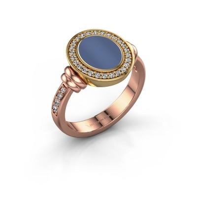 Zegelring Frido F 585 rosé goud blauw lagensteen 10x8 mm