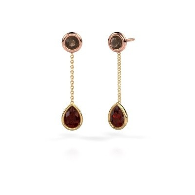 Picture of Drop earrings Ladawn 585 gold garnet 7x5 mm