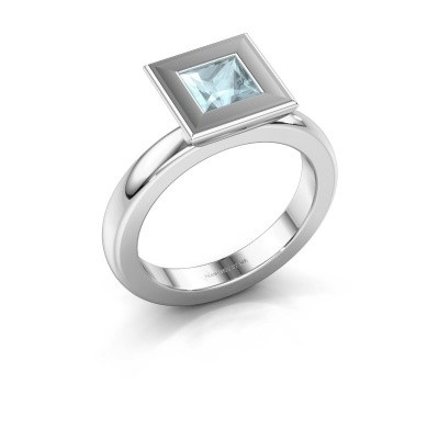 Stapelring Eloise Square 925 zilver aquamarijn 5 mm