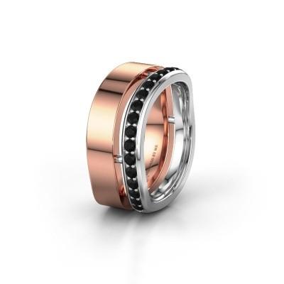 Weddings ring WH6008L18BP 585 rose gold black diamond ±10x2 mm