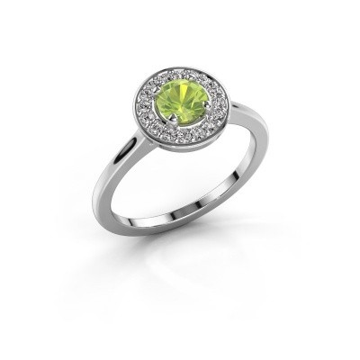 Ring Agaat 1 585 white gold peridot 5 mm