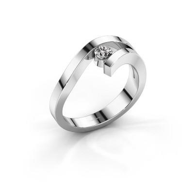 Ring Evalyn 1 585 witgoud zirkonia 3.7 mm