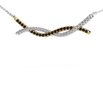 Bar ketting Breanne 585 goud zwarte diamant 0.369 crt