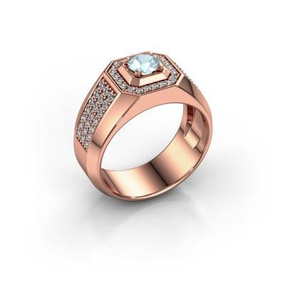 Heren ring Pavan 375 rosé goud aquamarijn 5 mm