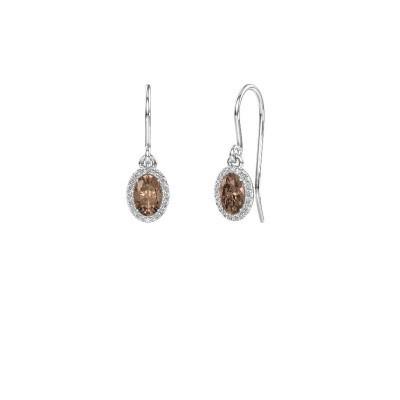 Oorhangers Seline ovl 585 witgoud bruine diamant 1.16 crt