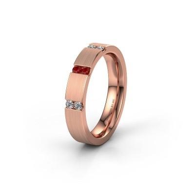 Trouwring WH2133L14BM 375 rosé goud robijn ±4x2.2 mm