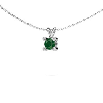 Foto van Hanger Fleur 375 witgoud smaragd 5 mm