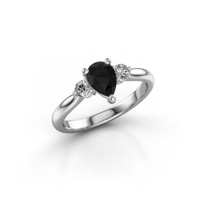 Foto van Verlovingsring Lieselot PER 585 witgoud zwarte diamant 0.97 crt