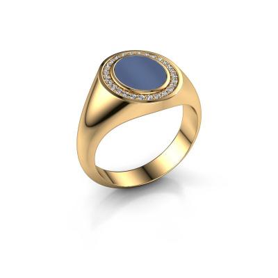 Bild von Pinky Ring Adam 1 585 Gold Blau Lagenstein 10x8 mm