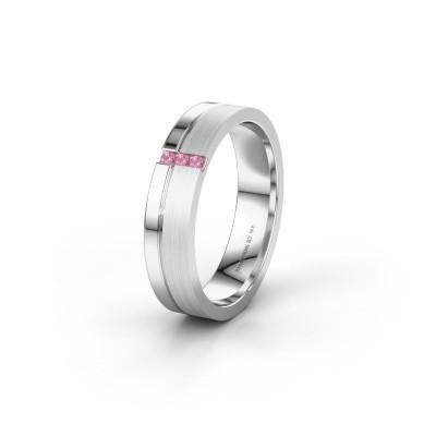 Trouwring WH0157L14XPM 375 witgoud roze saffier ±4,5x1.4 mm
