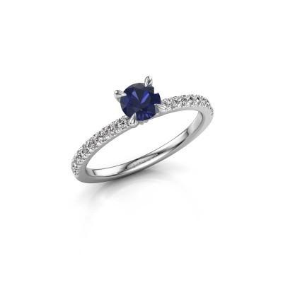 Verlovingsring Crystal rnd 2 950 platina saffier 5 mm