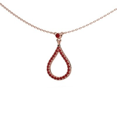 Collier Alona 375 or rose rubis 2 mm