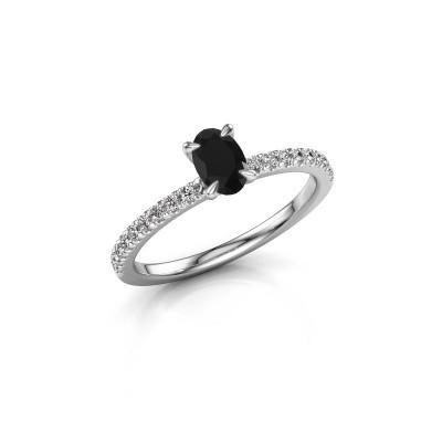 Foto van Verlovingsring Crystal OVL 2 585 witgoud zwarte diamant 0.78 crt