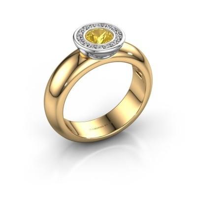 Bild von Steckring Anna 585 Gold Gelb Saphir 5 mm