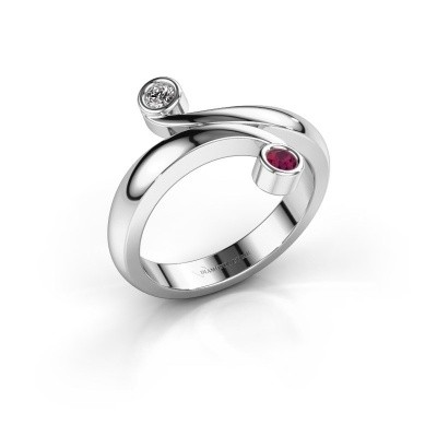 Ring Hilary 585 witgoud rhodoliet 2.5 mm