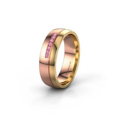 Trouwring WH0308L26AP 585 rosé goud roze saffier ±6x1.7 mm