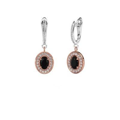 Oorhangers Layne 2 585 rosé goud zwarte diamant 2.31 crt