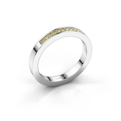 Stackable ring Loes 3 950 platinum yellow sapphire 1.3 mm