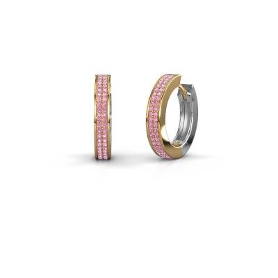 Creolen Renee 5 12 mm 585 goud roze saffier 1 mm