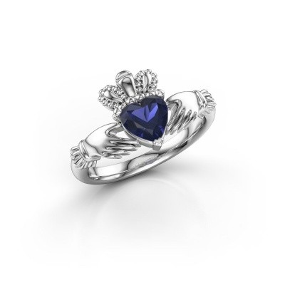 Foto van Ring Claddagh 2 950 platina saffier 6 mm
