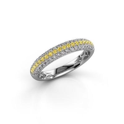 Foto van Ring Emely 2 950 platina gele saffier 1.3 mm