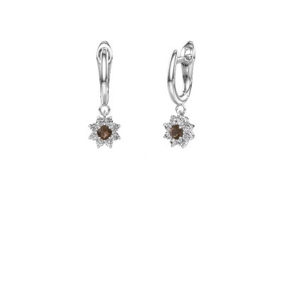 Drop earrings Camille 1 585 white gold smokey quartz 3 mm