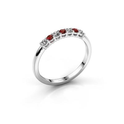 Verlovings ring Michelle 7 950 platina granaat 2 mm