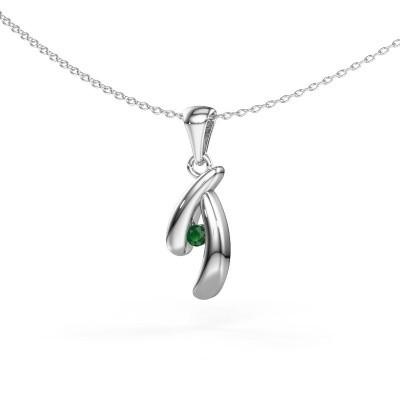 Hanger Jinke 925 zilver smaragd 2.5 mm