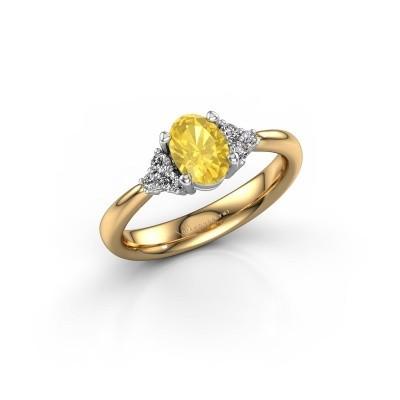 Foto van Verlovingsring Aleida OVL 1 585 goud gele saffier 7x5 mm