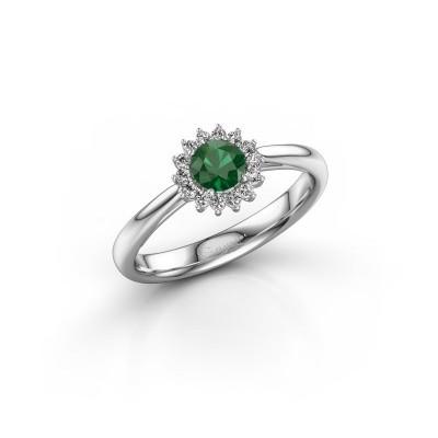 Foto van Verlovingsring Mariska 1 585 witgoud smaragd 4.2 mm