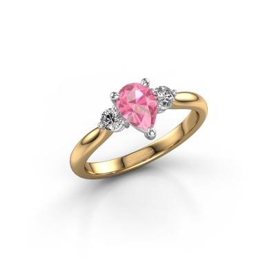Foto van Verlovingsring Lieselot PER 585 goud roze saffier 7x5 mm