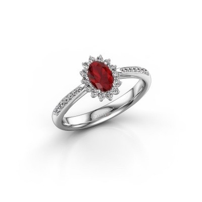 Photo de Bague de fiançailles Tilly 2 585 or blanc rubis 6x4 mm
