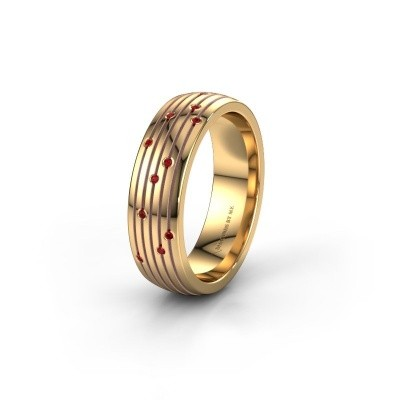 Wedding ring WH0150L26A 585 gold ruby ±0.24x0.07 in